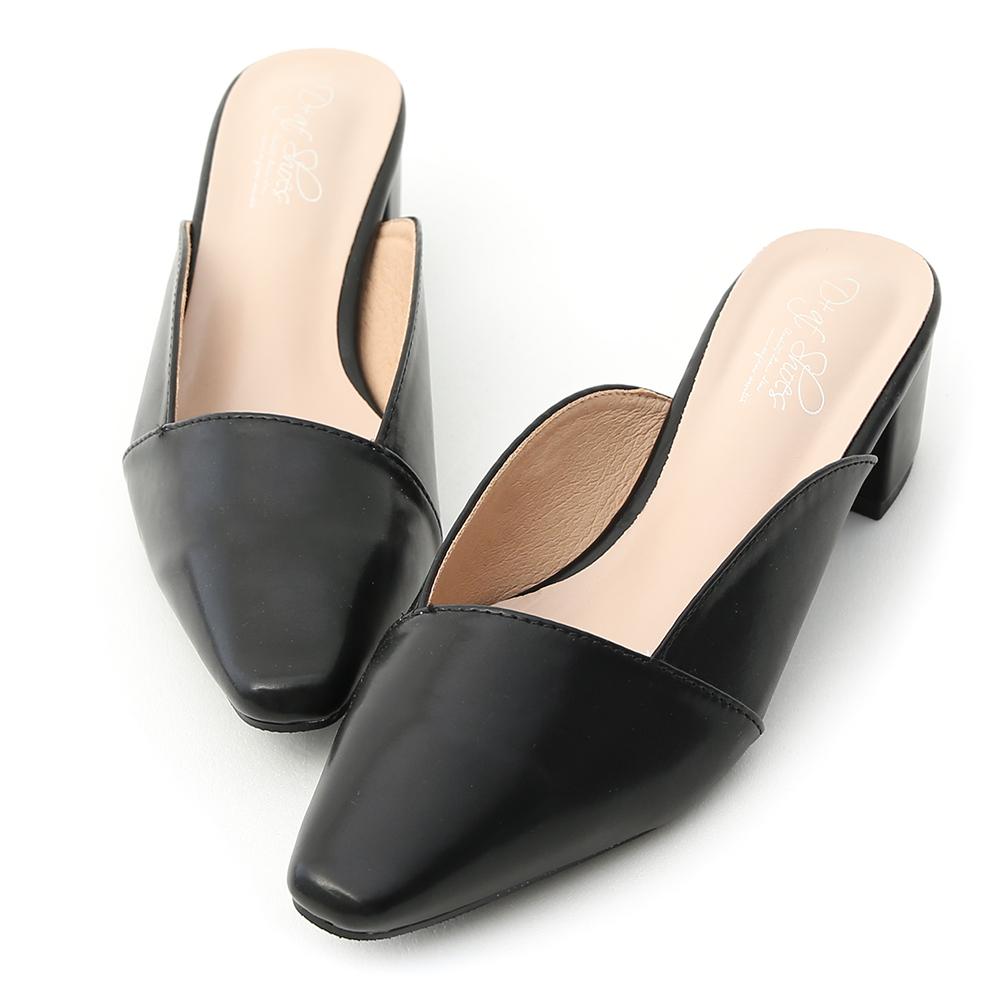 D+AF 優雅品味.質感微方頭中跟穆勒鞋*黑