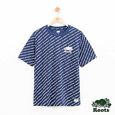 男裝Roots 派尼頓滿版印花短袖T恤-藍