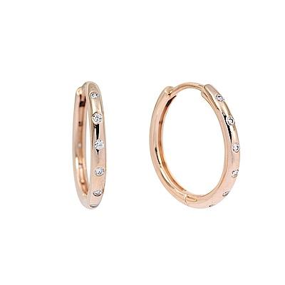 Pandora 潘朵拉 玫瑰金水滴圓圈鑲鋯 純銀耳環