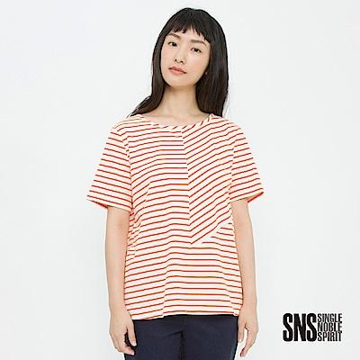 SNS 簡約主義不規則拼接條紋上衣(2色)