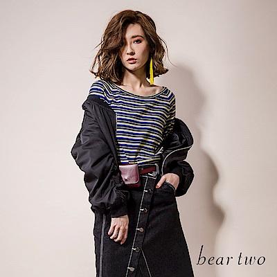 beartwo 雙袖紐摺大圓領條紋休閒針織上衣(2色)