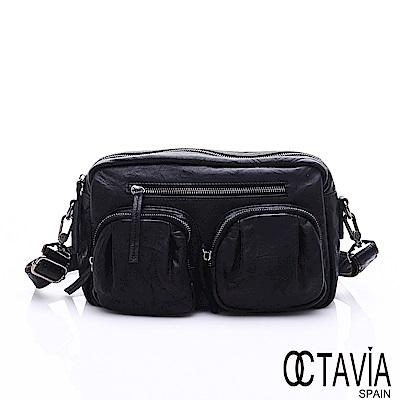 OCTAVIA 8 真皮 - 方圓規距 超軟牛皮雙口袋肩斜二用包 -戡查黑