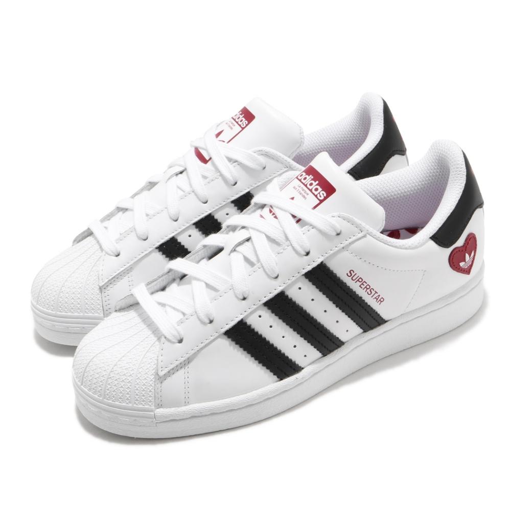 adidas 休閒鞋 Superstar 復古 低筒 男女鞋 愛迪達 三葉草 貝殼頭 愛心 情侶鞋 白 黑 FZ1807