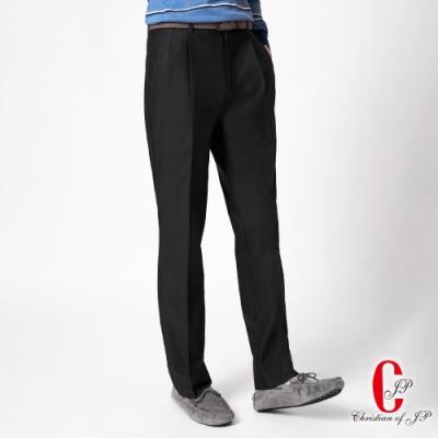 Christian 摩登時尚棉料雙褶休閒褲_黑色(HS838-2)