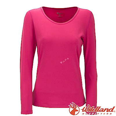 Wildland 荒野 W2653-20玫瑰紅 女遠紅外線保暖U領衛生衣