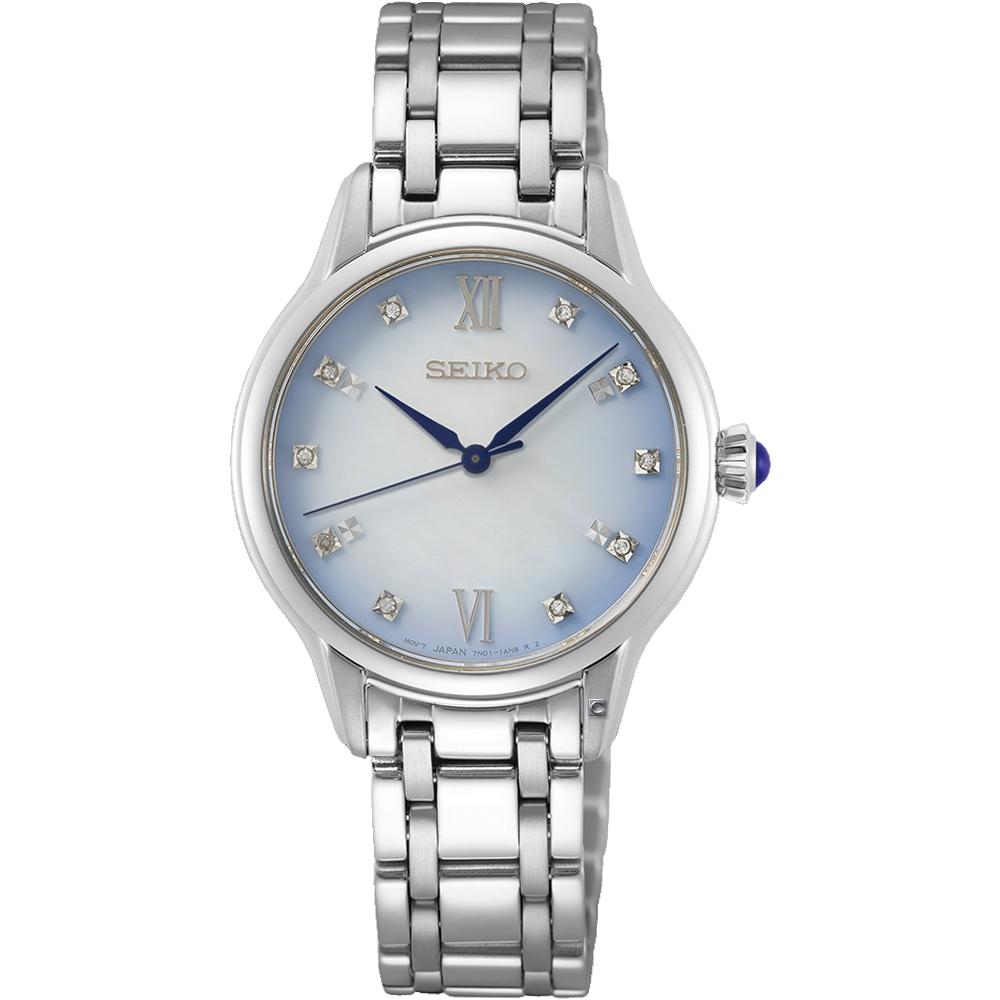 SEIKO 精工 140周年限定 典雅晶鑽時尚腕錶(SRZ534P1/7N01-0KV0S)-29.5mm