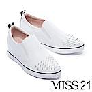休閒鞋 MISS 21 質感純色編織造型全真皮內增高休閒鞋-白