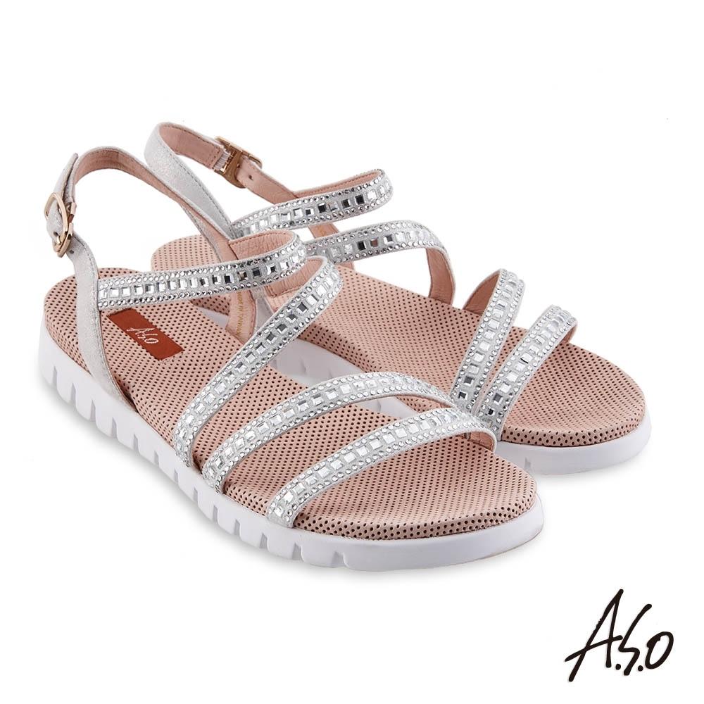 A.S.O 時尚流行 夏季輕量條帶燙鑽休閒涼鞋-銀