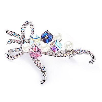RJ New York 浪漫緞帶花璀璨粉彩水晶胸針別針兩用 彩色