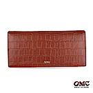OMC 進口牛皮-鱷魚紋二折式12卡雙透明窗零錢長夾-咖啡色
