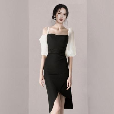 柔美不對稱衣袖修身開叉裙襬洋裝S-XL-Sexy Devil