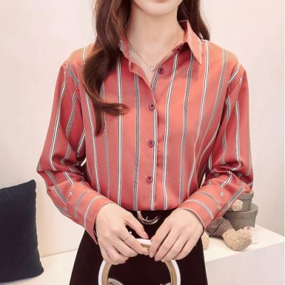 【韓國K.W.】(預購)韓風時尚撞色條紋長袖上衣-2色