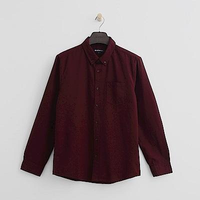 Hang Ten - 男裝 - 經典休閒純棉襯衫-深紅色
