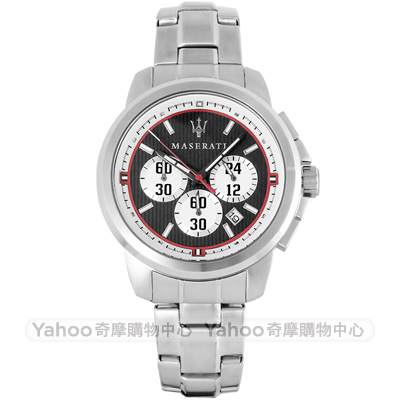 MASERATI 瑪莎拉蒂 Royale三眼計時手錶-黑X銀/45mm