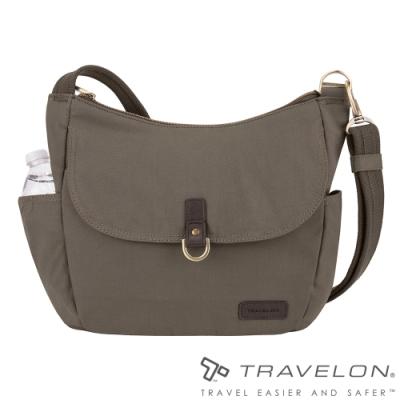 【Travelon美國防盜包】COURIER防割鋼網RFID斜肩背托特包TL-33303石灰/休閒旅遊包