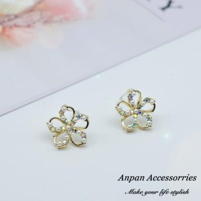 【ANPAN愛扮】韓東大門百搭小巧珍珠花朵925銀耳針式耳環