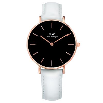 DW Daniel Wellington 經典真皮手錶-黑x玫瑰金框x白/32mm