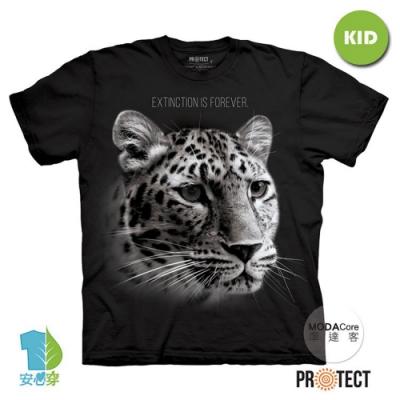 摩達客-美國The Mountain保育系列 花豹永恆滅絕 兒童黑色純棉短袖T恤