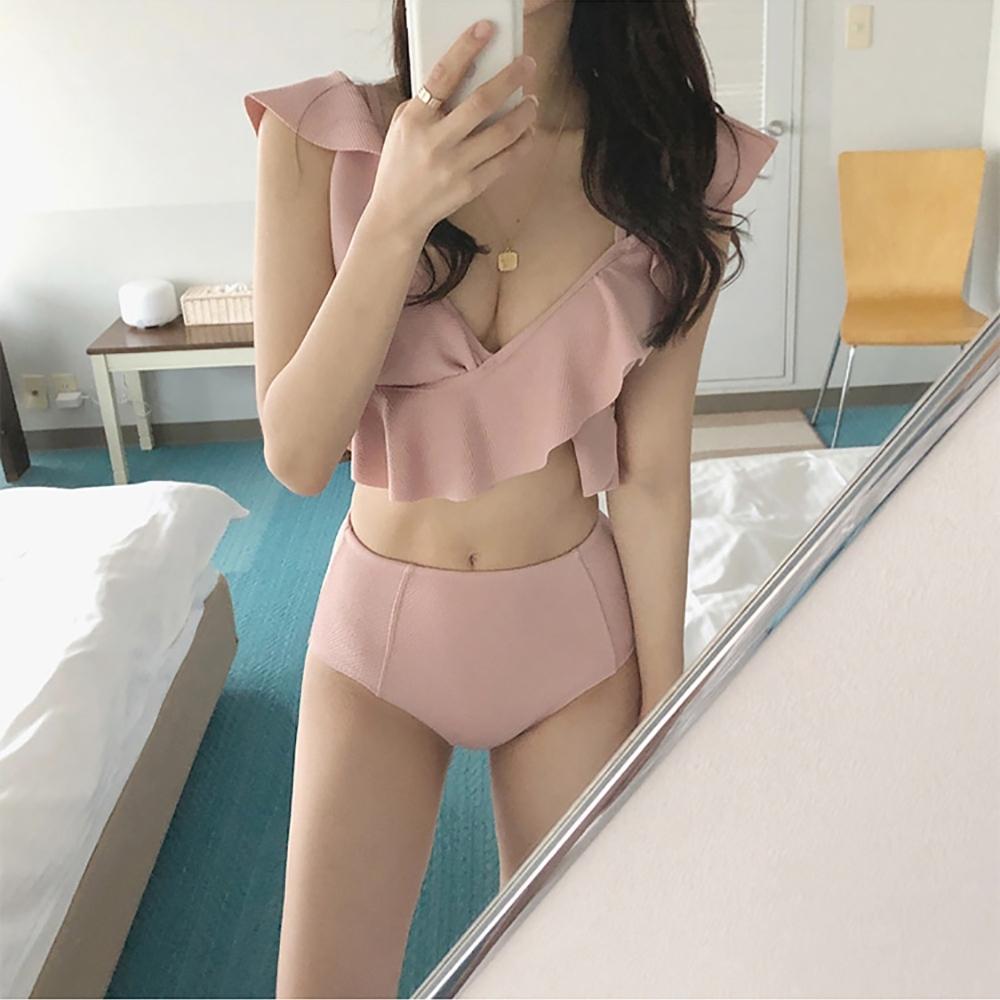 粉色系荷葉深V領兩件式性感泳衣 性感泳裝 粉色M-XL