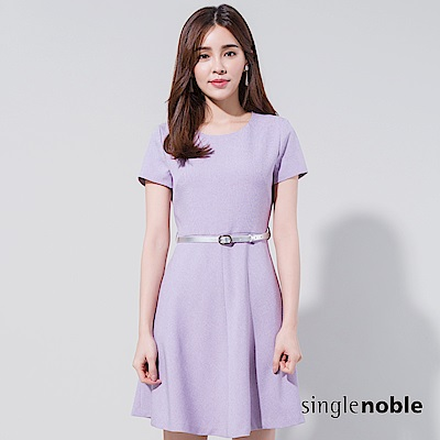 獨身貴族 簡約細格紋傘襬洋裝(附腰帶)(2色)