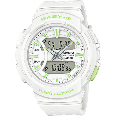 BABY-G 慢跑休閒運動新配色女錶-白X檸檬綠(BGA-240-7A2)/42mm