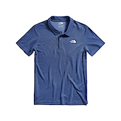 The North Face北面男款灰藍色吸濕排汗短袖POLO衫|3CJ6HKW