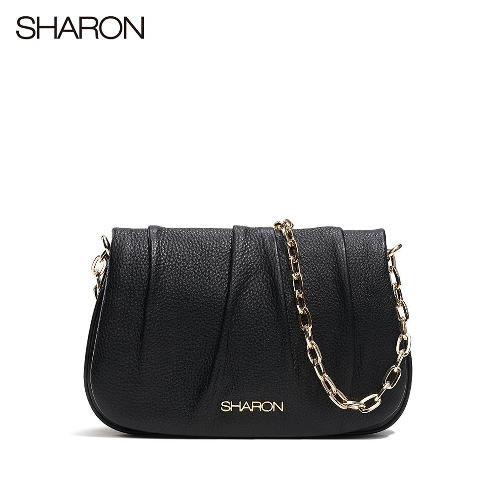 【SHARON 雪恩】頭層牛皮Dora雲朵鍊條小包(黑色13096BK)