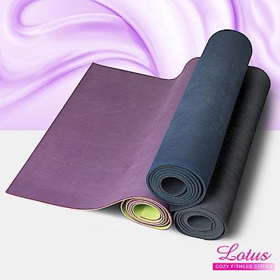 瑜珈墊 福利品 台灣製耐磨防滑木紋天然橡膠4mm瑜珈墊-顏色隨機 LOTUS