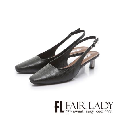 FAIR LADY 優雅小姐方頭壓紋後拉帶貓跟涼鞋 黑