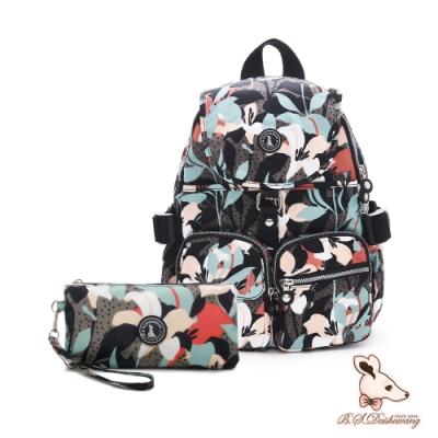 B.S.D.S冰山袋鼠-楓糖瑪芝x經典大容量時尚後背包+零錢包2件組-熱帶雨林