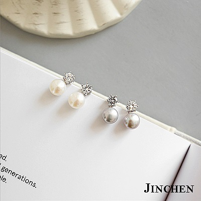JINCHEN 純銀珍珠水鑽耳環