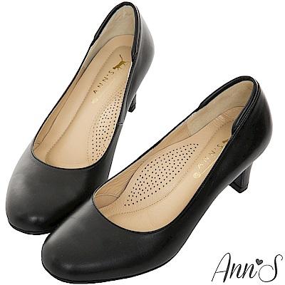 Ann S空姐美腿款全真羊皮中跟包鞋-黑(版型偏小)