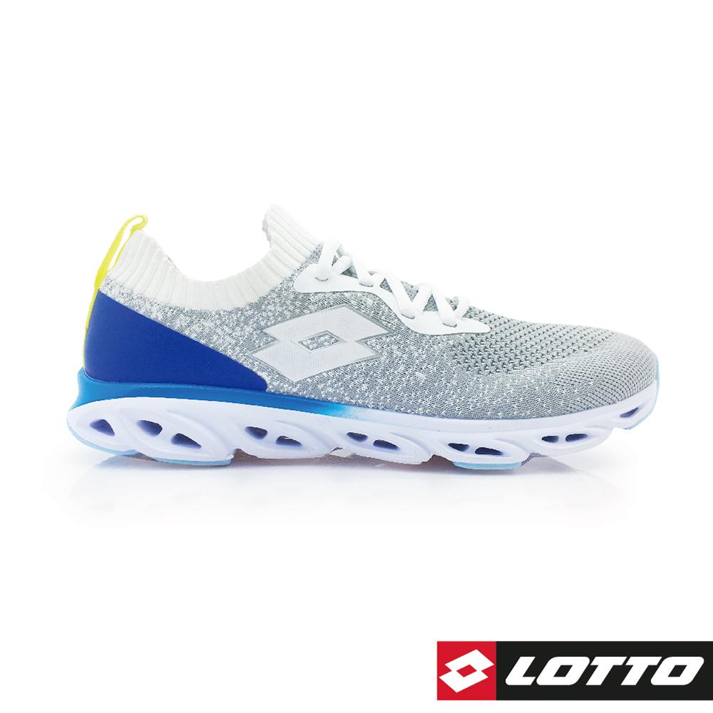 LOTTO 義大利 男 X Speed 編織風動跑鞋 (白灰/藍)
