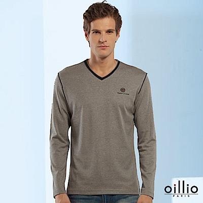 歐洲貴族 oillio 長袖T恤 特色拼接 簡單時尚 灰色