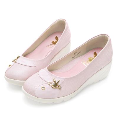 PLAYBOY 舒活時光 GOPLAY 亮粉厚底娃娃鞋-粉
