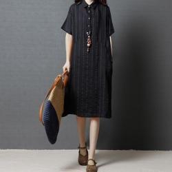 簡約舒適條紋亞麻襯衫連身裙M-2XL(共二色)Keer