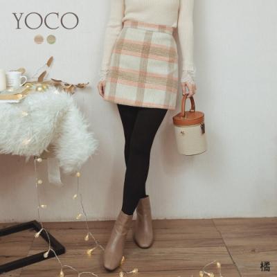 東京著衣-YOCO 溫馨冬日撞色格紋磨毛A字短裙-S.M.L(共二色)