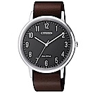 CITIZEN 星辰光動能時尚真皮手錶(BJ6501-01E)-黑X咖啡/41mm