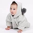 Baby unicorn 淺灰毛球連帽長袖連身衣