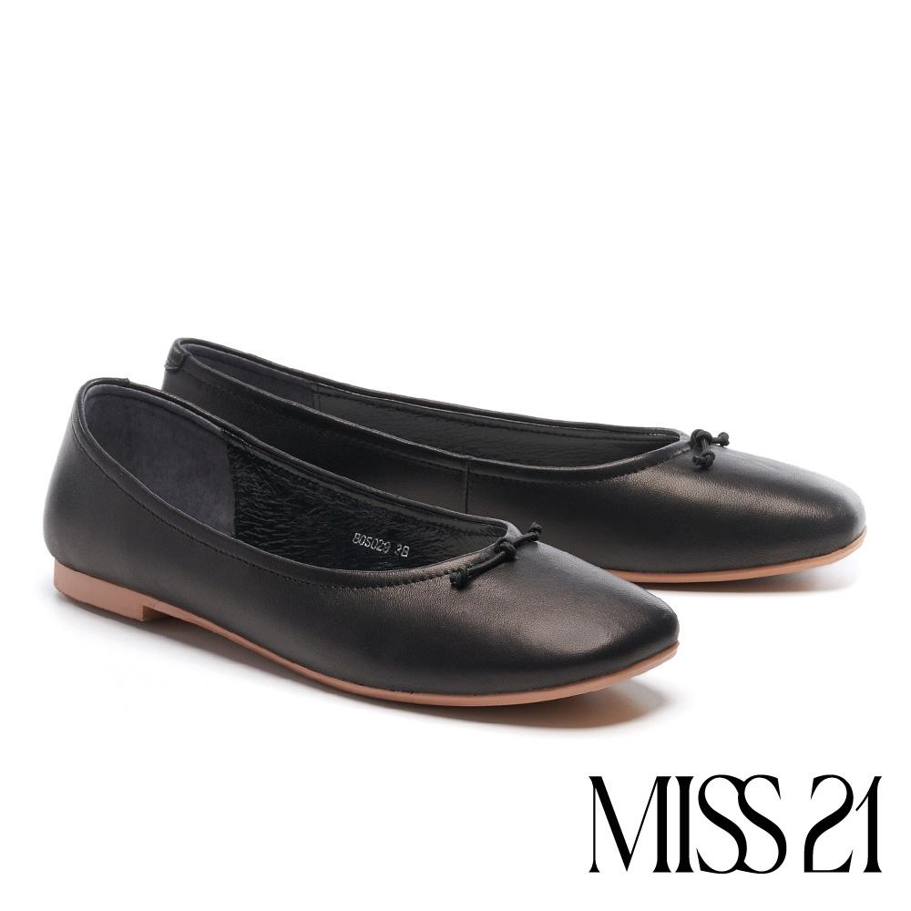 低跟鞋 MISS 21 簡約質感圓滾線帶羊皮方頭低跟鞋-黑