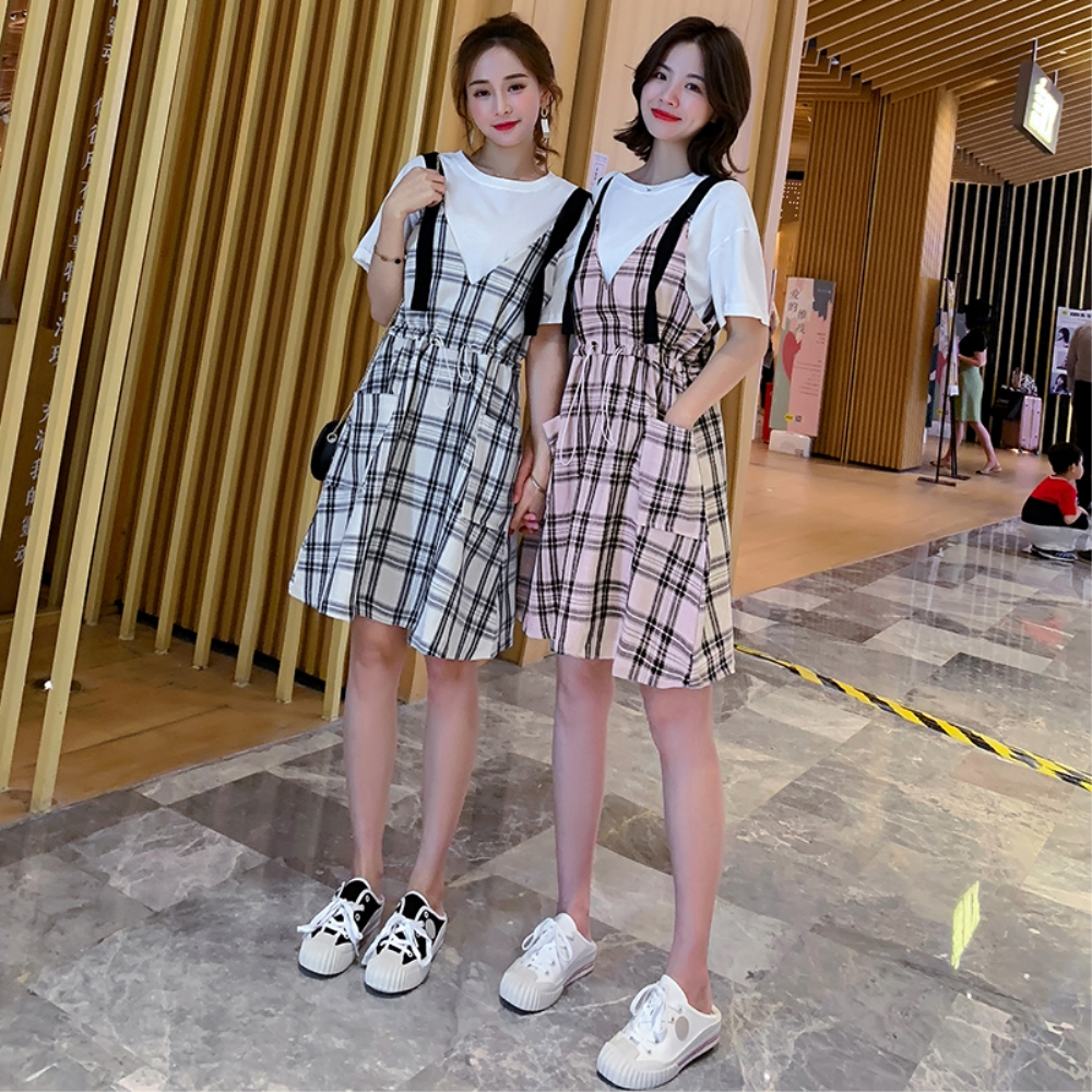 DABI 韓系格紋寬鬆格子吊帶背帶裙套裝短袖裙裝