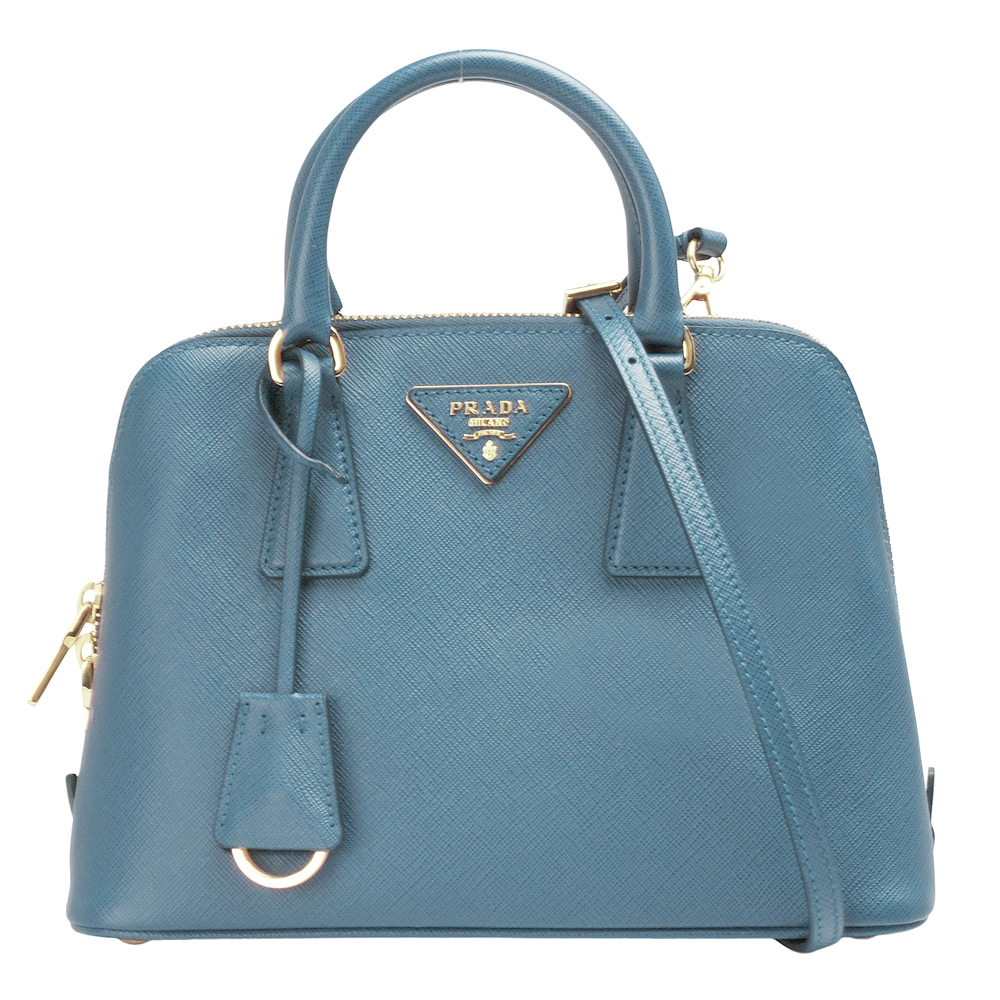 PRADA Saffiano Lux三角LOGO防刮牛皮三層拉鍊手提/斜背包(小-粉藍色) @ Y!購物