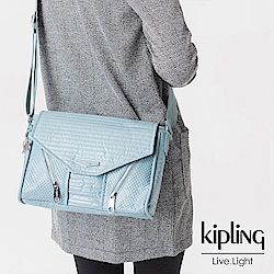 Kipling 斜背包 雲彩淺藍素面-小