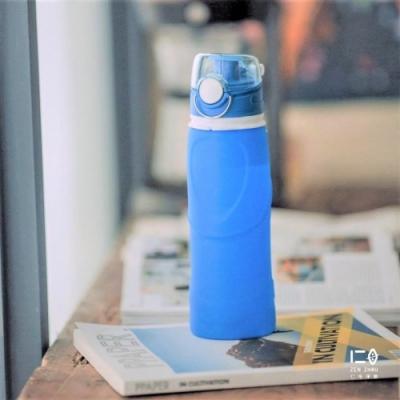 仁舟淨塑 捲捲矽水瓶750ml-湛海藍