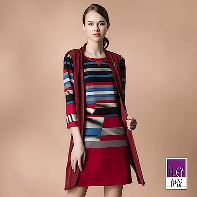ILEY伊蕾 彈力條紋配色假兩件洋裝(紅)
