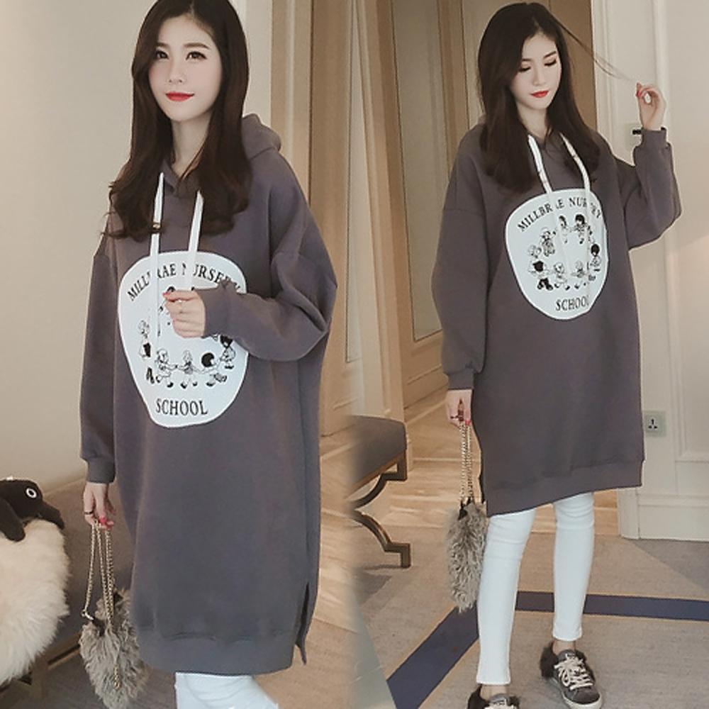【韓國K.W.】慵懶風字母過膝印花洋裝
