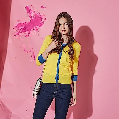 Hana+花木馬 輕時尚亮眼撞色拼接棉製七分袖針織必備外套-黃(共2色)