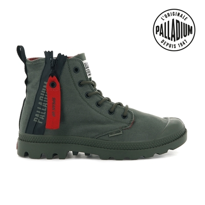 PALLADIUM PAMPA UNZIPPED拉鍊帆布靴-中性-墨綠