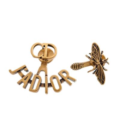 DIOR 新款「J'Adior」鍍金復古金屬不對稱穿式耳環 (金色)