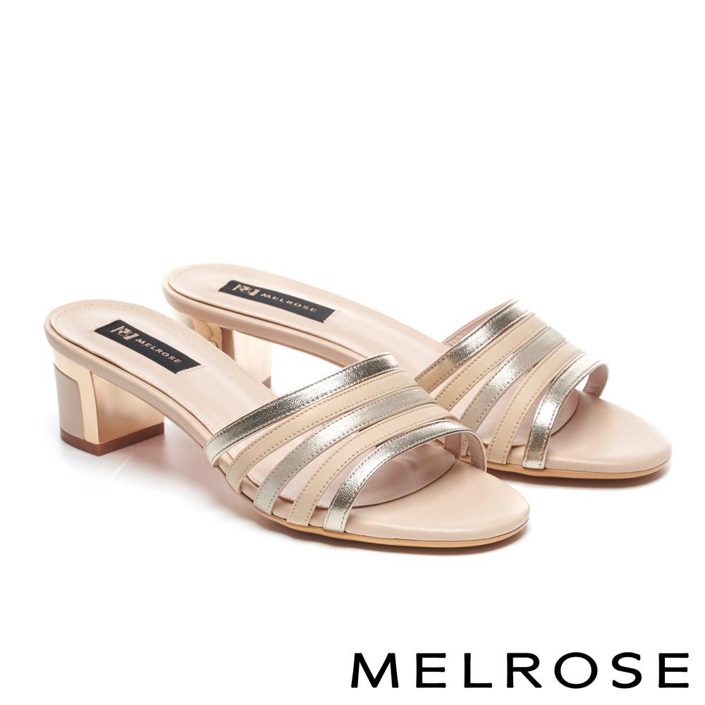拖鞋 MELROSE 時尚質感羊皮繫帶粗高跟拖鞋-米